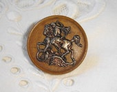 Antique collectible Picture Button with George and the Dragon on Wooden Base