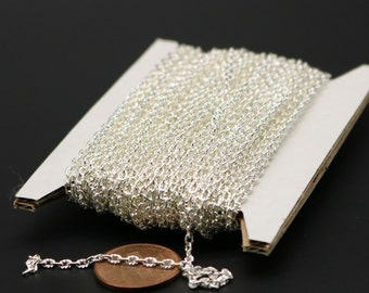 NEW New 100 feet Sterling Silver Plated Texture Chain Bulk - 3x2mm Unsoldered - Oval Chunky Cable Chain - Necklace Bracelet Chain