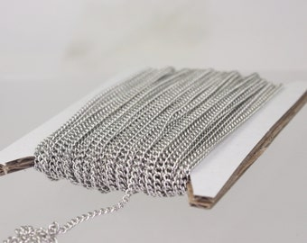 New 10 ft spool of Rhodium Plated SOLDERED sturdy curb chain - 2.1mm SOLDERED link - Ship from California USA