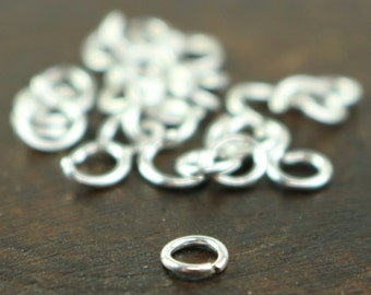 50 Sterling Silver Jumprings Jump Rings - 4mm 21Gauge 0.7mm 21G - from California USA