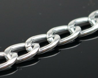 10 ft of Aluminum Facet Curb Chain - Silver TARNISH Resistant Tarnish FREE Anti Tarnished Silver Finished  - 11x6mm 1.7mm thickness - A052