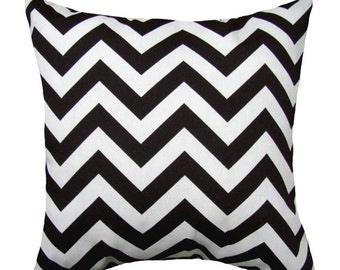 Chevron Black Outdoor Decorative Throw Pillow - Black and White Zig Zag Chevron - Free Shipping
