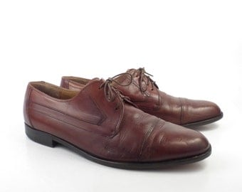 Bally Oxford Shoes Leather Vintage 1980s Brown Dress Men's size 11 1/2 D