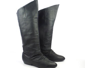 Black Leather Boots Vintage 1980s Tall Flat Women's size 8