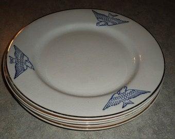 5 antique Swallow Bird flow blue bird of happiness Mercer Pottery PLATE Trenton NJ gold rim