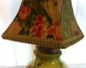 SALE - Victorian Floral Porcelain Lamp with Handmade Shade by Barneche/Stephanie Barnes
