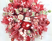 Peppermint Candy Christmas Wreath in Red, White & Green -Candy Cane Theme Christmas Wreath -Deco Mesh Christmas Wreath