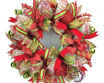 Holiday Wreath in Red & Lime Green with Poinsettias, Christmas Door Wreath, Christmas Door Wreath, Wreaths for Christmas