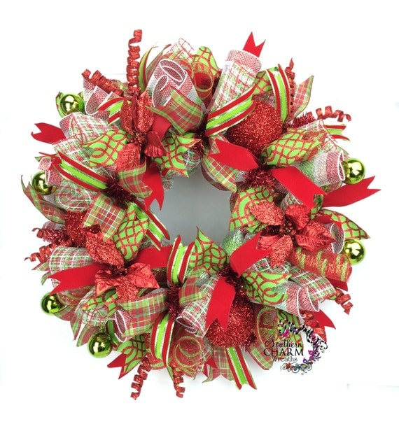 Holiday Wreath In Red & Lime Green With Poinsettias Christmas