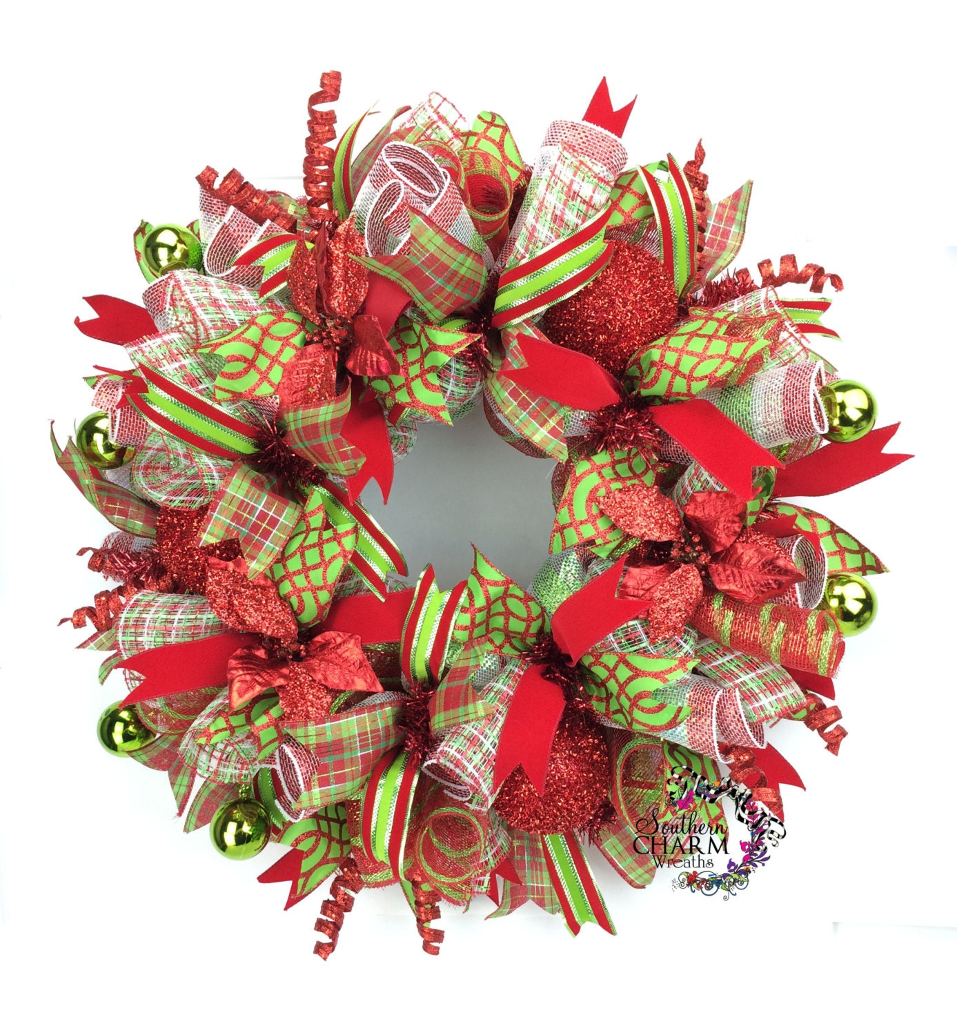 Xmas Wreath: Deco Mesh Christmas Wreath In Lime Green & Red With