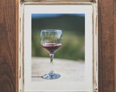Wine photo wall print - Vino wall art - Winery photo for home decor - Gift for wine lovers - Red wine bar decor - Photo of wine glass