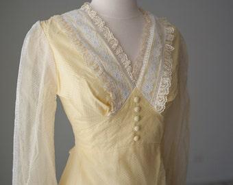 Cotton 70s Yellow Sheer Maxi Dress Small