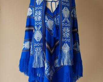 70's Fringe Tribal Cape Poncho