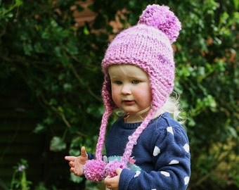 Earflap Hat Knitting Pattern, Baby Child and Adult sizes , Knit Pompom Hat PDF, Knit Earflap Hat PDF - KELSEY