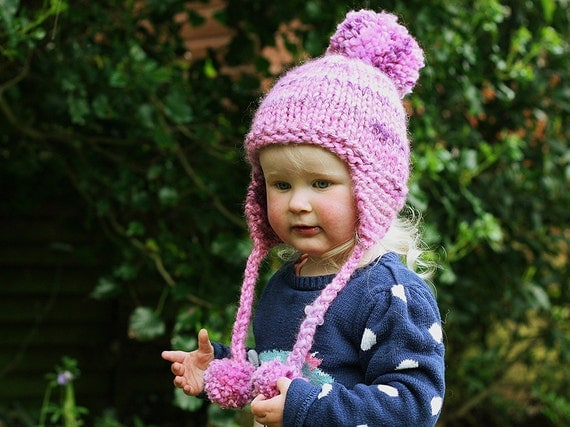 Knitting Patterns For Childrens Earflap Hats : Earflap Hat Knitting Pattern Baby Child and Adult sizes