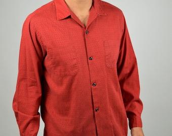 Men's Rockabilly Shirt, 50s Tulane Shirt, Red Shirt, Vintage Shirt, Cotton Casual Shirt, Button Down, Diamond Print Pattern, On Sale