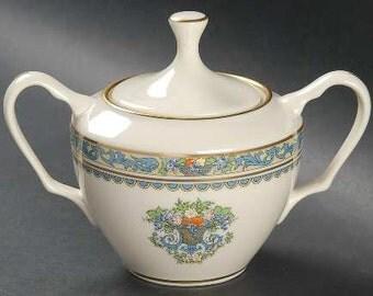Sugar Bowl, Bowl & Lid, Autumn Pattern, Lenox China, Bone China, Edwardian Pattern, 24K Gold, Bridal China, Wedding China, Wedding Gift