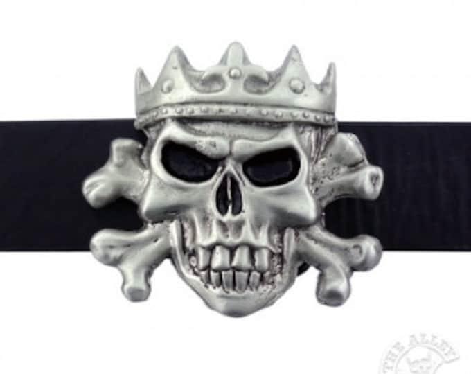 Men's Belt Buckle, Skull Belt Buckle, Silver Buckle, Rockabilly, Psycho-billy, Crowned Skull, Belt Buckle, Biker Belt Buckle
