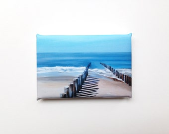 wavebreakers at the beach, mini canvas art print