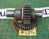 camshaft and gear, industrial paperweight, Harley Sportster engine part, great for found art, metal sculpture, biker man cave