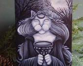 Druid Priestess Cat Art Original Acrylic Painting on Masonite