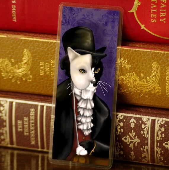 Phantom Bookmark, Tuxedo Cat Wearing Mask Paper Bookmark