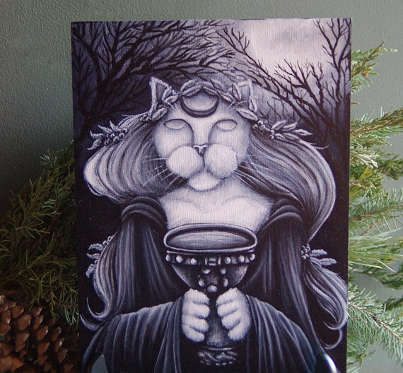 Druid Priestess Cat Art Original Acrylic Painting on Masonite