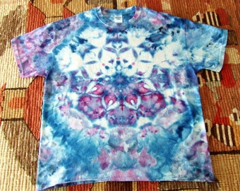 XL Lotus Blossom Mandala Tie Dye T-Shirt - Ice Dyed - Ready to Ship