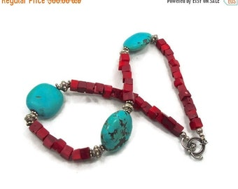 SALE - Turquoise & Red Coral Necklace - Vintage Beaded Necklace, Bohemian, Boho Statement - InVintageHeaven