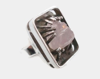 Rose Quartz Ring, Pink Stone, Unique, Sterling Silver, Vintage Ring, Pink Gemstone, Pinky Ring, Big Statement, Wax Cast, Boho Bohemian