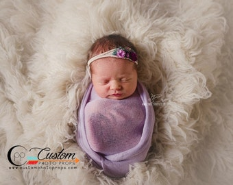 RTS Purple Stretch Knit Wrap Newborn Photo Props, Lavender LuX Baby Wrap Photography Prop, Baby Photography Props, Baby Props, Baby Girls