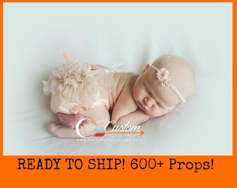RTS Newborn Girl Ruffle Diaper Cover ONLY, Photography Props, PeacHy PinK SpaRkLe Ruffle Chiffon Diaper Cover, Newborn Photo Props, Vintage