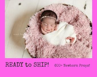 RTS Newborn Photo Prop 40 Colors, Flokati PeAceFul Pink Basket StuFFeR Faux Fur Newborn Photo Props, Vegan, Newborn Baby Photography Props