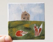summer at the cabin / small painting on canvas