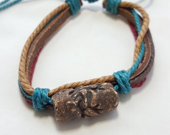 Back to nature leather and string bracelet, tan, brown, beige, teal or turquoise, red genuine leather, native look