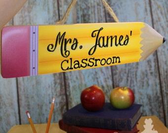 Teacher Pencil Classroom DOOR SIGN Teacher End of Year Christmas Present Gift TDS024