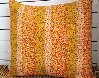 African decor Orange African pillow cover, scatter cushion, African wax print  (17 inch) Africa decorative pillow