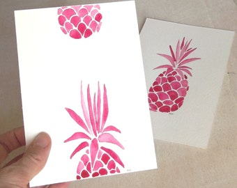 pineapples pink summer postcards handpainted cards set of 2