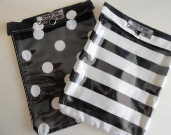 Black White Dots & Stripes Ouch Pouch 2 Pk Clear Front First Aid Kit JuJuBe Organizer Diaper Bag Baby Gift Under 20 Large 6x8 Fabric / Vinyl