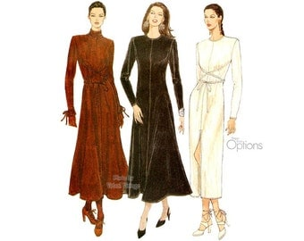 Easy Dress Pattern, Vogue 9063, Long sleeve Fit and Flare Dress, Slit, Collar Variations, Stretch Knits, Sizes 6 8 10 Uncut