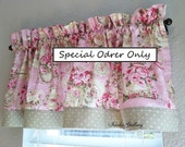 Special Order for Edith Shabby Pink and Green Rose Teapot Kitchen Curtain Valance Little Curtain