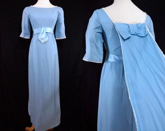 1960s Baby Blue Chiffon Maxi Dress Prom Evening Gown Train Satin Small Half Sleeve