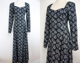 1990s Black and White Grunge Dress Floral Long Sleeve Maxi Rayon Cotton 90s Day Dress medium Large