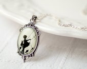 Victorian girl Silhouette necklace - Bridesmaid jewelry - Wedding (N061)