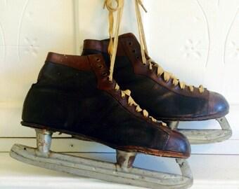 Vintage Leather Ice Skates