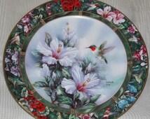 ON SALE Lena Liu's Hummingbird Treasury Ruby Throated Plate #1 Hummingbird Floral