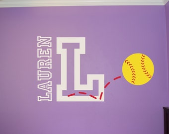 Softball Name u0026 Initial Wall Decal - Softball Wall Decal - Sports Wall Decal  - Personalized Softball Wall Decal - Girls Teen