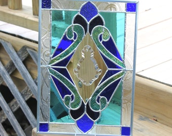 Stained Glass Panel With Bevel in Blues, Purple and Green