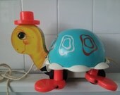 Vintage 1962 Fisher Price Turtle Pull Toy