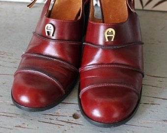 vintage 1970s OXBLOOD Aigner leather clogs platforms size 9 shoes